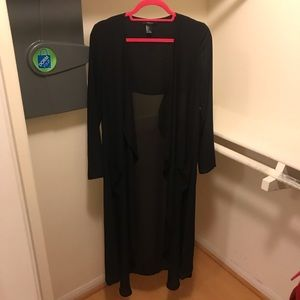 NWOT Sheer Black Long Duster Cardigan